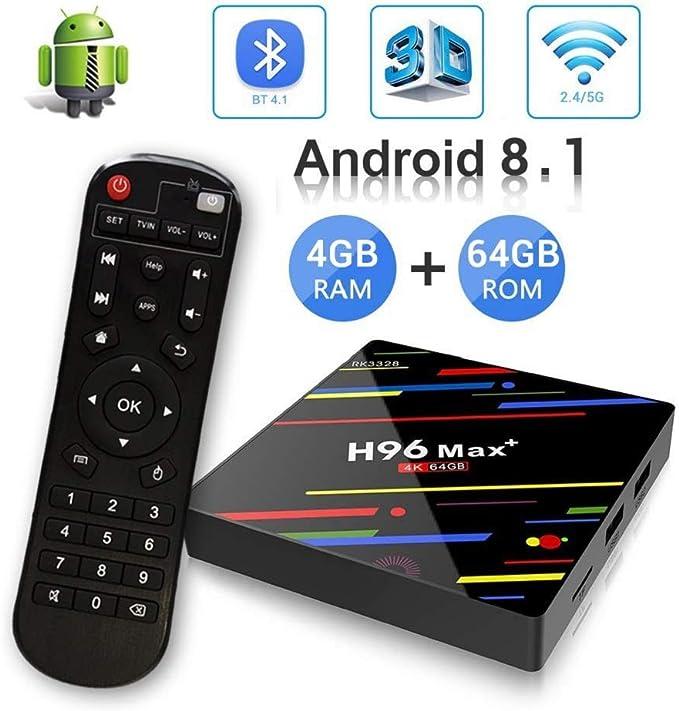 Android 8.1 ♥ 4GB + 64GB】 H96 MAX + 4GB + 64GB RK3328 Quad-Core 64bit Ultra HD Smart TV Box, Soporte 2.4G / 5G Dual WiFi /3D/4k/USB3.0: Amazon.es: Electrónica