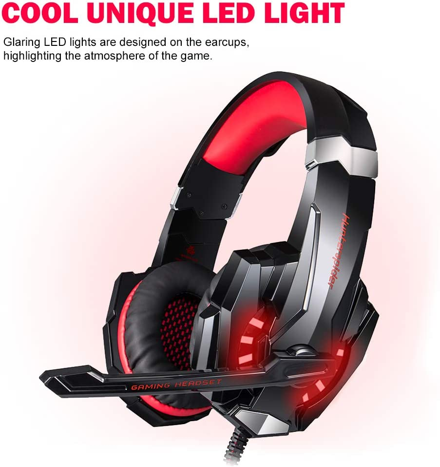 Docooler Hunterspider V-9 Gaming Headset 3.5mm Game Headphones Over Ear PC Earphone with Microphone LED Light Volume Control for Computer Laptop Smart Phone