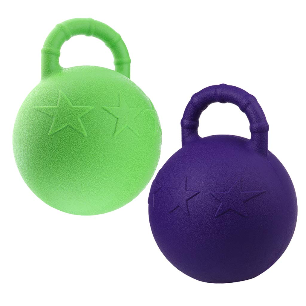 Kesoto 2Pcs Pony Bounce Jolly Ball Stable Field Toy Anti-Burst Horse Soccer Balls, Green and Purple by Kesoto
