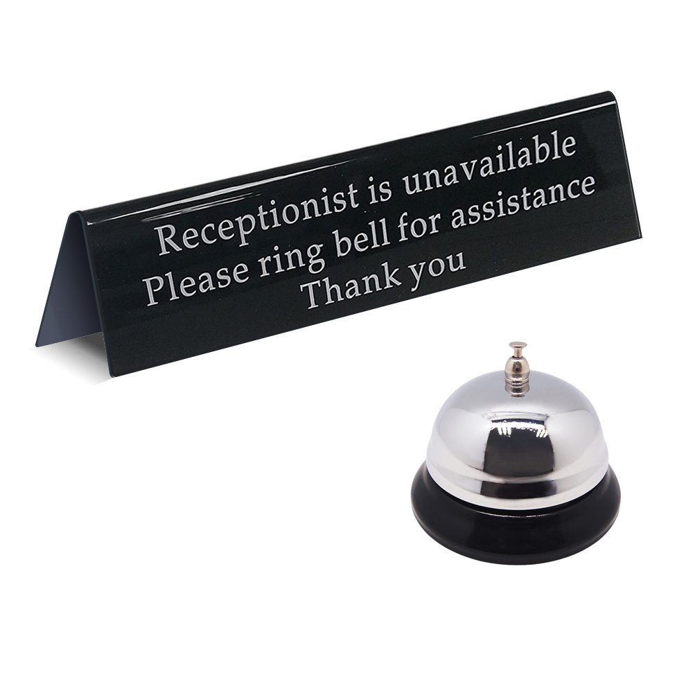 MESS Call Bell and Away from Desk Receptionist is Unavailable Sign/Durable Metal with Satisfying Ring and Accompanying Office Sign