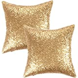 kevin textile decorative solid sequins throw pillow cover sham 45 x 45 cm decor pillow casehidden zipper designtwo cover packsgold - Gold Decorative Pillows