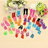 Generic 10 Barbie Doll Shoes Mix Style Different High Heel Shoes Boots Accessories for Barbie Doll Accessory Girl's Birthday Gift Xmas Gift(Random Color)
