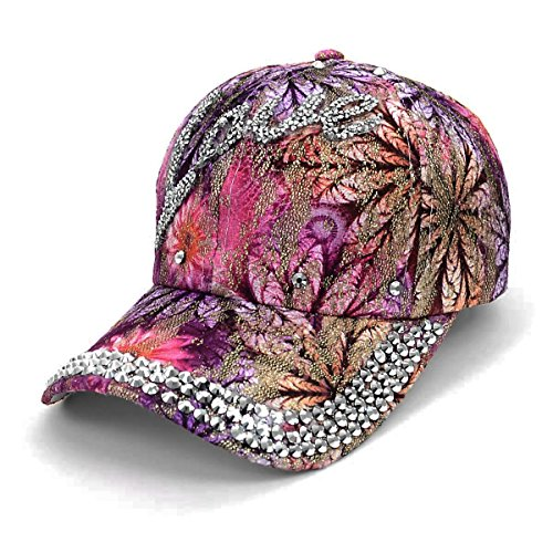 (Bling Love Embellished Adjustable Baseball Cap Hat~Purple/Pink Floral)