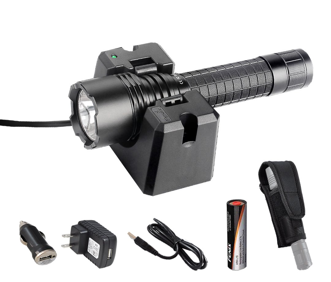Premium Bundle- Fenix RC20 1000 Lumens Rechargeable Cree XM-L2 U2 Tactical LED Flashlight with USB Charging Cradle, LumenTac Car Charging Adapter and a Heavy Duty Holster