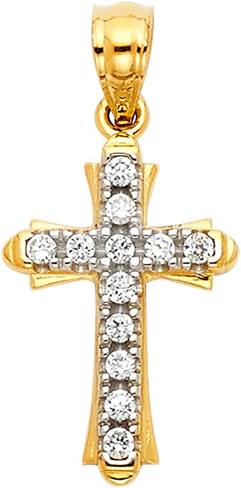 14K Yellow Gold Cubic Zirconia CZ Cross Charm Pendant with 1.5mm Flat Open Wheat Chain Necklace