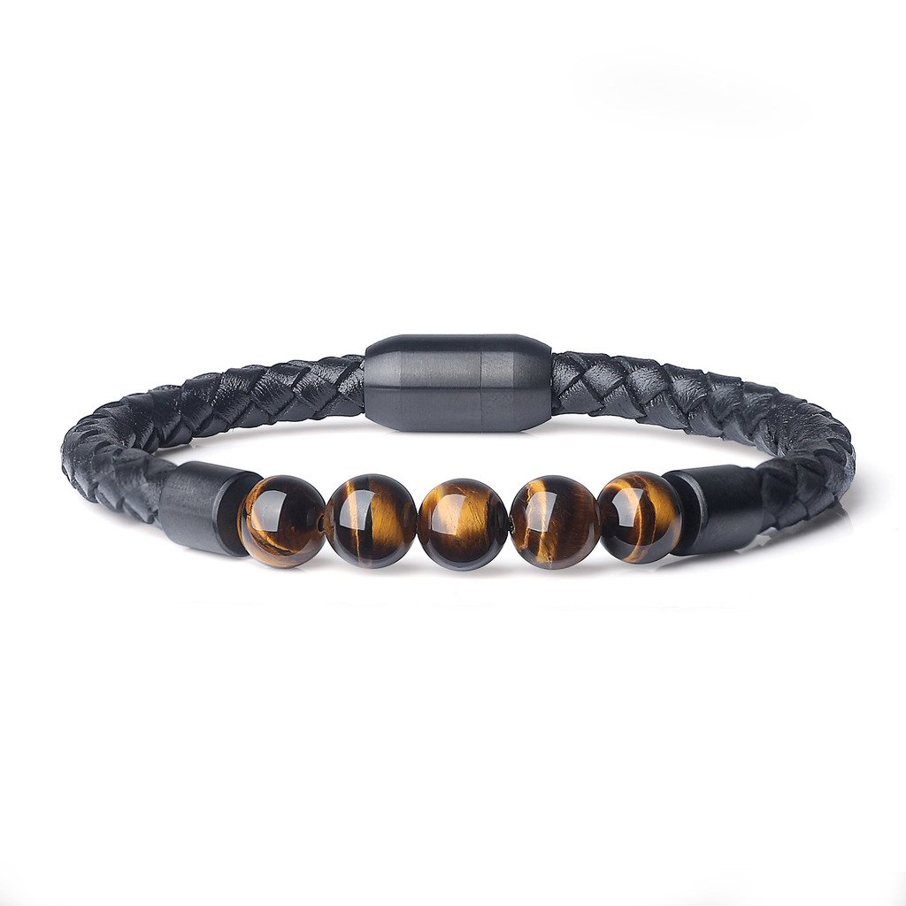 AmorWing 8.5/21.5cm Magnetic Clasp Leather with Genuine Stone Mala Beads Bracelet N433-2
