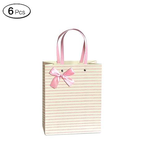 Amazon.com: Jia Hu 6pcs Lazo bolsas de regalo con asas rayas ...