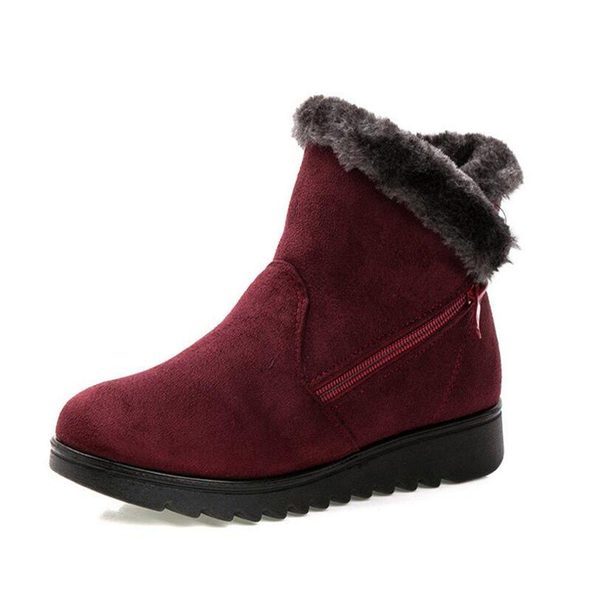 Dear Time Women Winter Warm Button Snow Boots B075FVV9RG 6 B(M) US|Red Wine Zipper