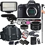 Canon EOS 6D 20.2 MP CMOS DSLR Camera with EF 50mm F/1.8 STM Prime Lens, Filters, Lens Hood, Monopod, 128GB Memory, Led Video Light, Microphone, Canon Case, Extra Battery & Charger