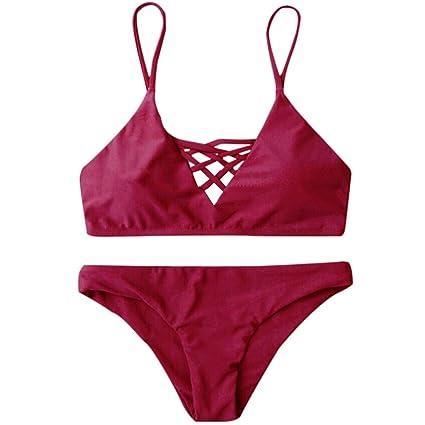 LHWY Bikini Damen Push Up Bademode Frauen Zweiteilige Badehose Einfarbig Bikini Set Verband Push-Up Badeanzug Bade Beachwear