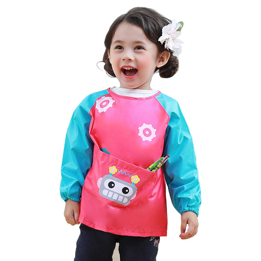 HOSIM Kids Toddler Art Smocks Play Apron Cute Radio Pattern, Waterproof Painting Apron Children's Kitchen Cooking and Baking Smocks Long Sleeve with Large Pocket (S, Green) PAR-G-S