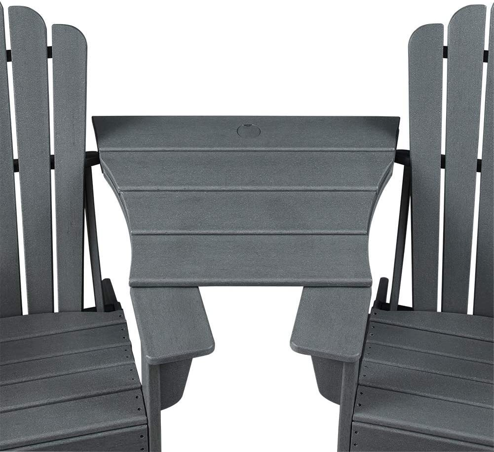 Ehomexpert Adirondack Chair Connecting Table, Weather Resistant Patio Furniture, Grey