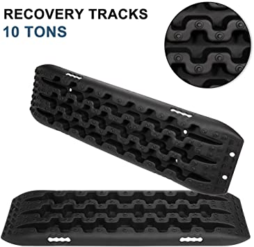 2 Pcs Red Traction Mat Recovery for Sand Mud Snow Track Tire Ladder 4X4 Traction Boards. FieryRed Traction Tracks