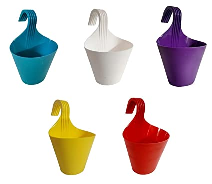 Go Hooked Hanging Planters for Plants | Railing Flower pots (Assorted Colors) (Set of 5)