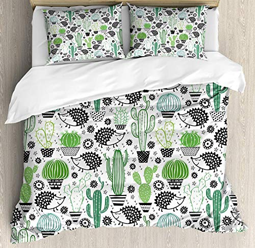 Cactus Decor Bedding Duvet Cover Set, Cartoon Inspired Drawing of Cute Hedgehog Animals Saguaro and Prickly Pear, Decorative 3 Piece Bedding Set with 2 Pillow Shams, Multicolor -Twin -