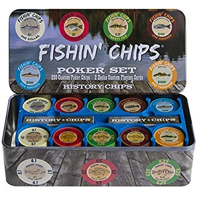 FISHIN' CHIPS - Freshwater - 200 CLAY CHIPS POKER SET by History Chips