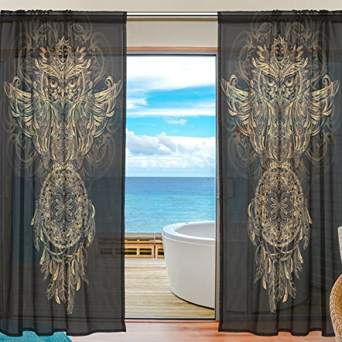 SEULIFE Window Sheer Curtain Boho Animal Owl Dreamcatcher Voile Curtain Drapes for Door Kitchen Living Room Bedroom 55x84 inches 2 Panels by SEULIFE