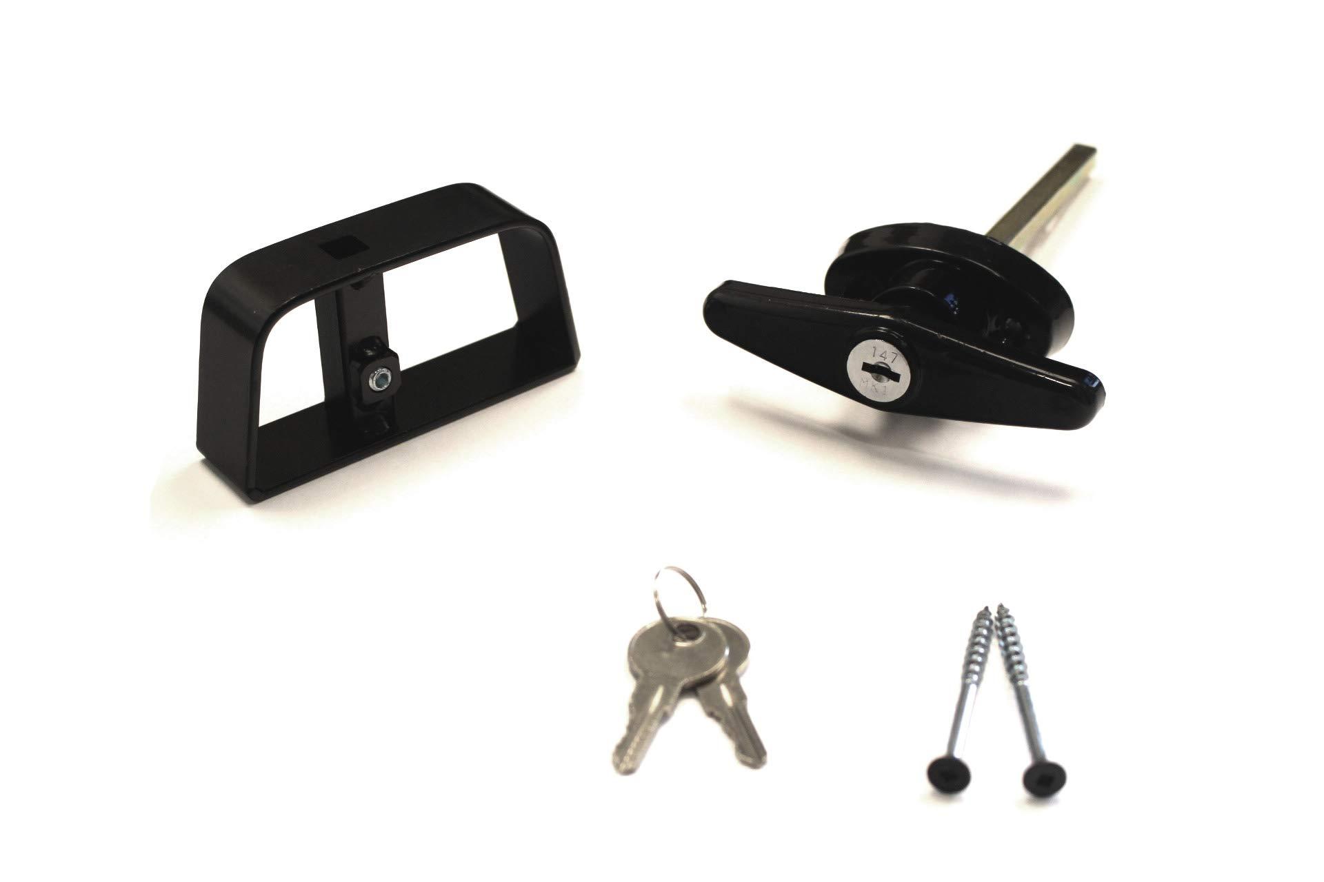 Doors & Door Hardware 6'' Black T Handle Door Lock Set - shed, gate, playhouse, coops Free, Fast Ship!