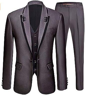 X-Future Mens Regular Fit Casual Business One Button 3-Piece Blazer Vest Pants Suit