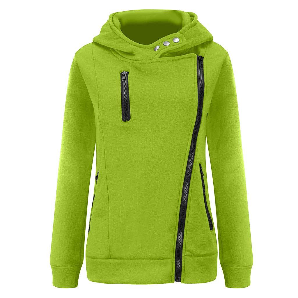 Shusuen Women's 3/4 Long Sleeve Hoodie Open Front Jacket Zipper Outwear Coat with Pockets Mint Green by Shusuen
