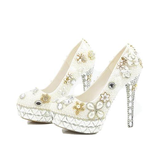 Lacitena Sandalias Zapatos de Mujer Diamante de la Perla de la Boda Zapatos Impermeables de Color Blanco Cristal talón de Encargo súper Tacones Altos: ...