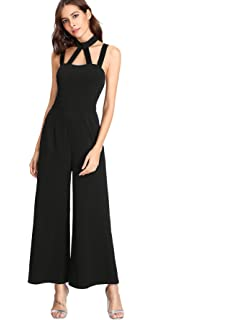 44bda28961a3 Amazon.com  XOXO Women s Wide Leg Crochet Neckline Jumpsuit  Clothing