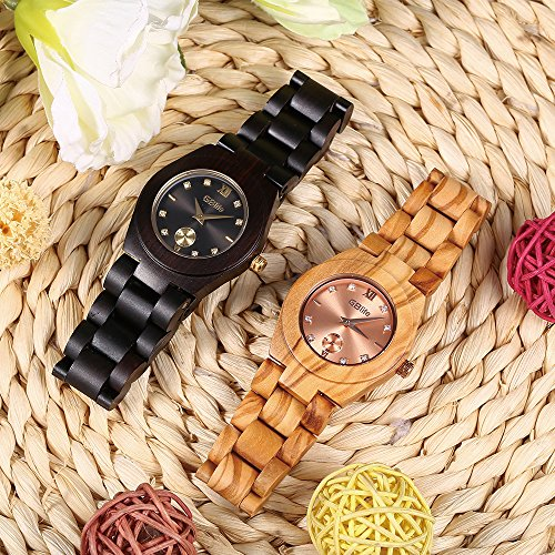 Wooden Watch Women, GBlife Natural Wood Watches with Black Dial Golden Pointers, Adjustable Lightweight Wood Band, Casual Retro Wooden Quartz Wristwatch (Ebonywood) by GBlife (Image #5)