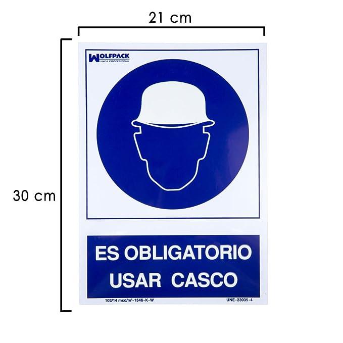 WOLFPACK 15050540 - Cartel Obligatorio Usar Casco 30x21 cm: Amazon.es: Bricolaje y herramientas