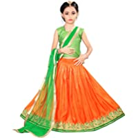 Arrow Fashion Baby Girl Net Lehenga Choli (Green & Orange)