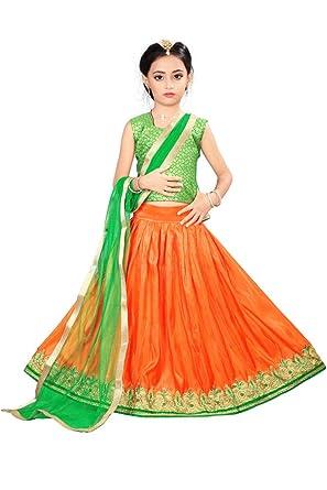 b077ca104 Arrow Fashion Baby Girl Net Lehenga Choli (Green   Orange)  Amazon ...