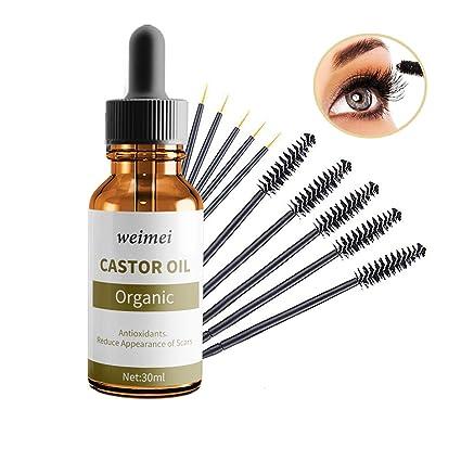 Orgánica Aceite de ricino, Crecimiento de pestañas y cejas, reparación de puntas abiertas,