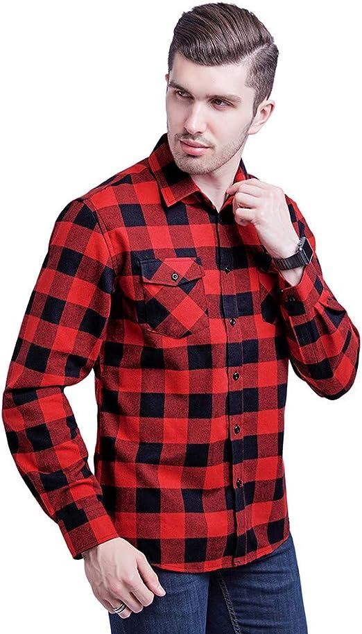 Ni_ka - Camisa de Hombre con Respaldo de Bolsillo Delantero de Manga Larga B-Rouge XXL: Amazon.es: Ropa y accesorios