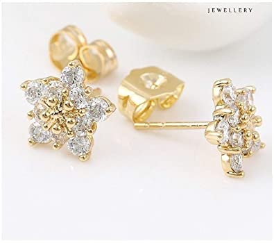 e02195e6e 9ct 9K Yellow Gold Plated Ladies Girls White Cubic Zirconia Lovely Stone Stud  Earrings 10mm Gift: Amazon.co.uk: Jewellery