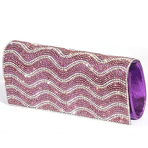 Purses Wavy Bags women Rhinestone Purple Clutch Evening Digabi Pattern Crystal T1PwAA