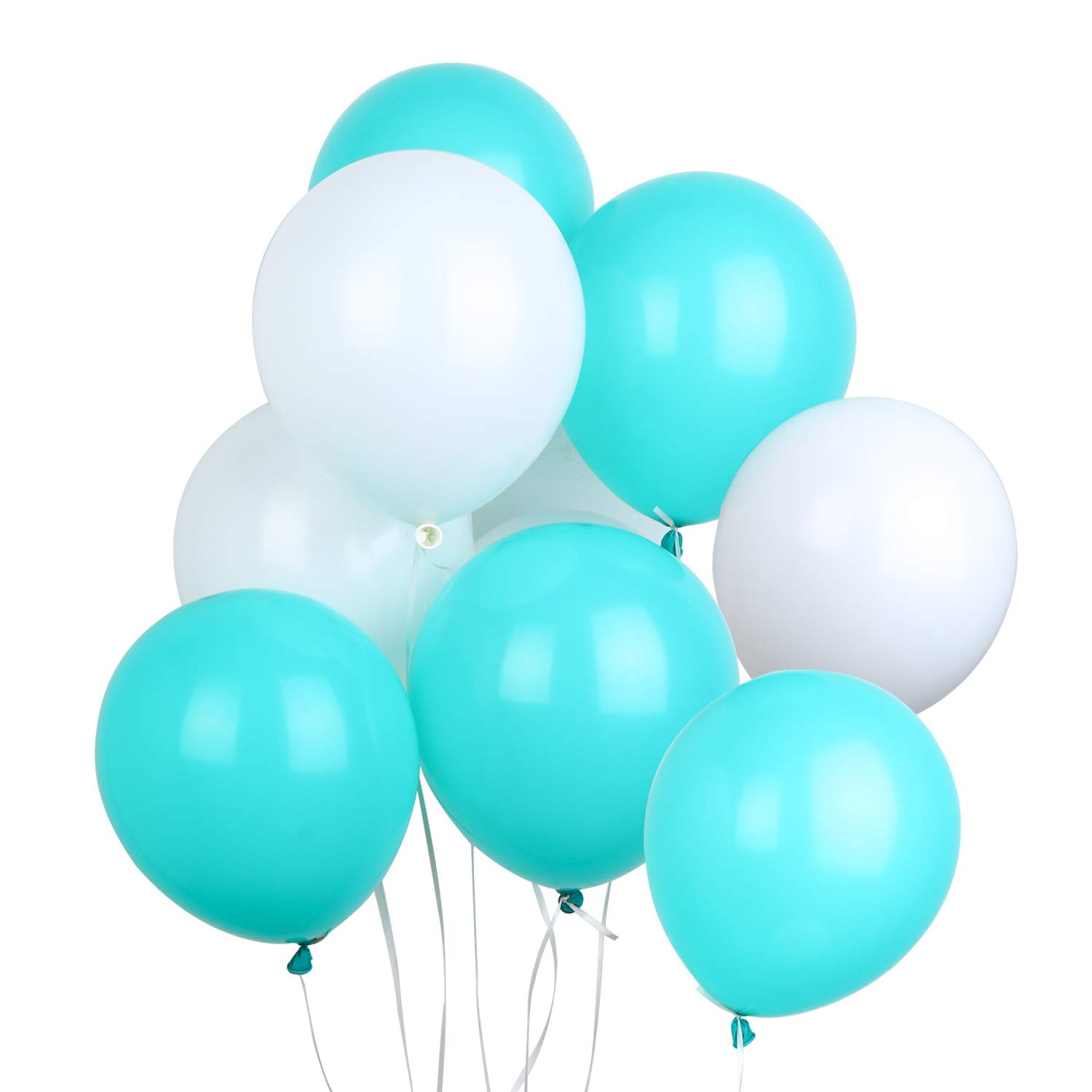 LAttLiv PartyWoo Balloons 100 Pack 12 Inch White & Tiffany Blue Balloons + 25m Free Ribbon for Wedding Decorations Birthday Decoration Baby Shower Kids Party Supplies,3.2g