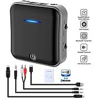 Bluetooth 5.0 Transmitter Sender Empfänger, Digital Optical TOSLINK und 3,5 mm Wireless Audio Stereo Adapter für TV / Home Stereo / Car Sound System aptX HD, aptX LL