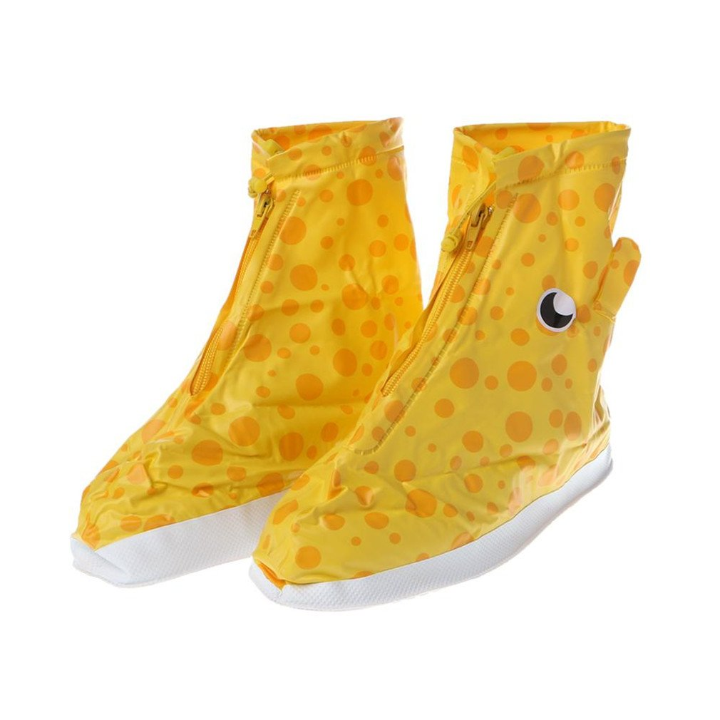 Waterproof Raining Boots Shoes Cover Wear Proof Reusable For Children Kid Yellow M