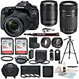 Canon EOS 80D DSLR Camera with EF-S 18-135mm f/3.5-5.6 IS USM Lens and Canon EF-S 55-250mm f/4-5.6 IS STM Lens along with Deluxe Bundle