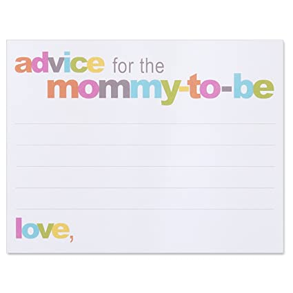 advice for the mommy to be cards baby shower advice card 425 - Baby Shower Card Note