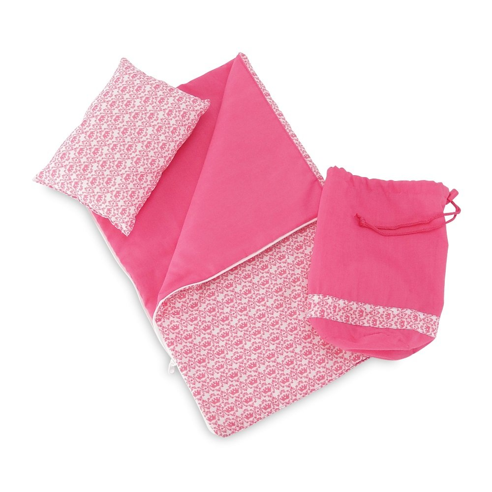 18 Inch Doll Accessories   Reversible Pink and White Princess Crown Sleeping Bag Set with Pillow and Drawstring Storage Bag   Fits American Girl Dolls by Emily Rose Doll Clothes