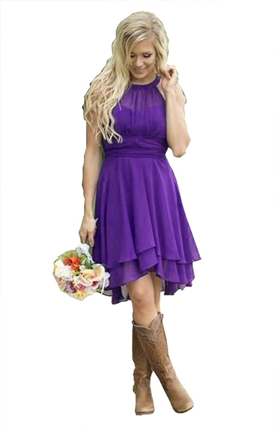 9fb05d02ae6 Amazon.com  Meledy Women s Knee Length Country Bridesmaid Dresses Western  Wedding Guest Dresses Short Maid of Honor Gown Purple US08  Clothing