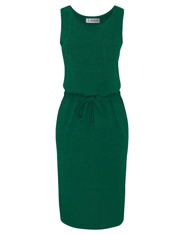 Tom's Ware Frauen Stilvolle Side Slits Elastisch Taille Midi-Kleid