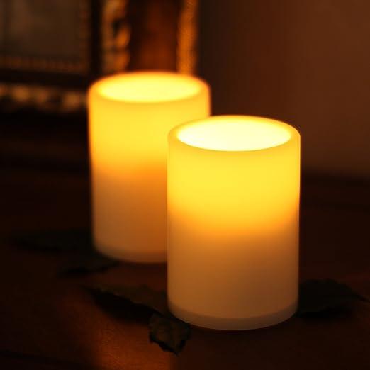 Amazon.com: Smart sin llama velas de té vela LED luces W ...