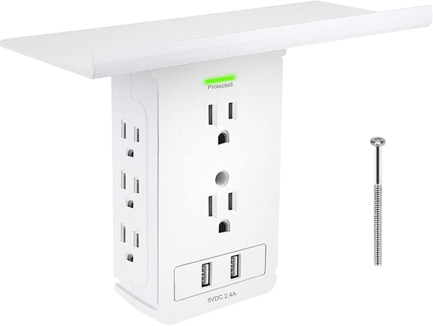 Surge Protector with Shelf,Wall Outlet Shelf with 8 Electrical Outlet Extenders,2 USB Charging Ports,Extra-Large Removable Built-in Shelf