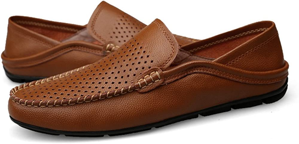 Color : Hollow Brown, Size MXL Men Drive Loafers for Casual and Refreshing Breathable Genuine Leather Soft Bottom to Prevent Odor A Foot Pedal Lazy Person Dress Shoes