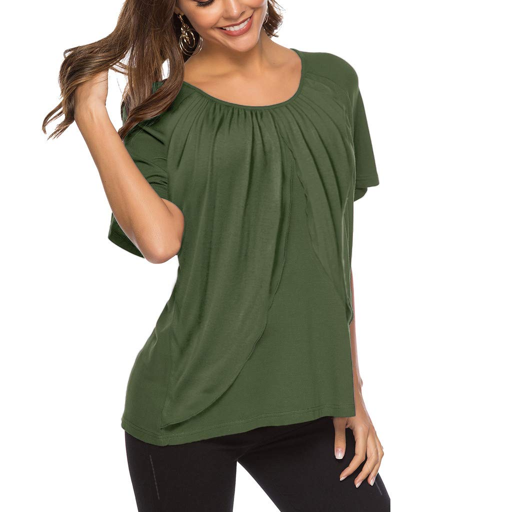 Solid Color Pleated T-Shirt Ladies Casual Trumpet Loose Tops Fashion Short-Sleeved T-Shirt MEEYA