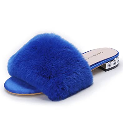 bda51c347d30 Women s Flat Fur Slippers Ladies Sandals Leather Peep Toe Slide Mules Shoes  With Low Heel Rhinestone