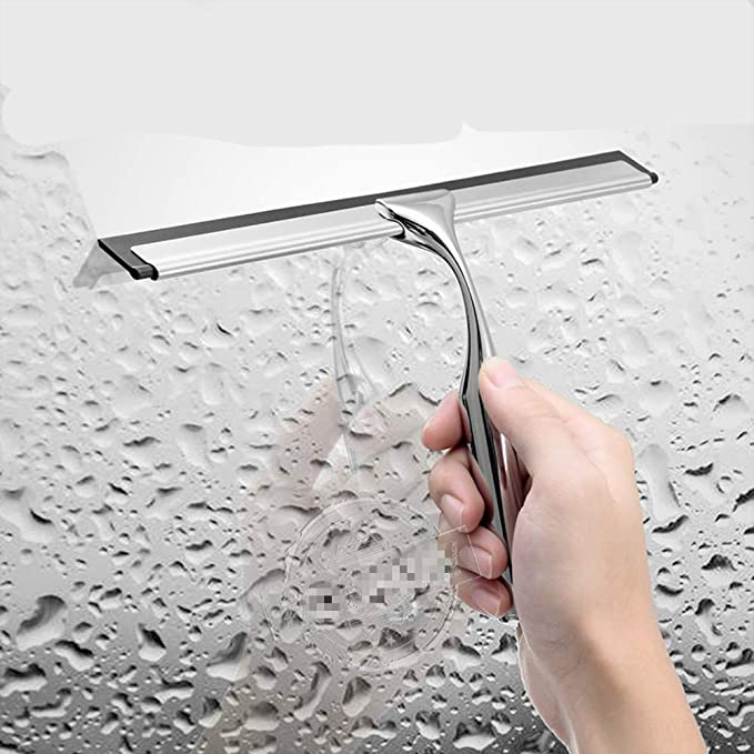 Limpiador De Vidrio De Acero Inoxidable, Raspador De Ventana De Ducha, con Gancho De Ventosa para La Limpieza De La Superficie De Espejos, Azulejos, ...