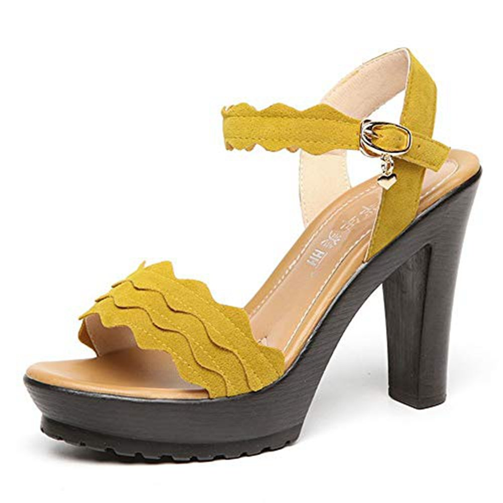 T-JULY Womens Wedges Platform Open Toe Chunky Heel Pumps Shoes Ankle Strap Slip On Dress Party Sandals Yellow