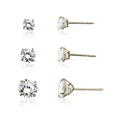 9150ff3b7 3-pair 10K White Gold Round Simulated Diamond CZ Stud Earrings Set, (4mm